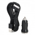 Car Charger w/ 30-Pin USB Cable for iPhone / iPod Touch / iPad - Black (DC 12~24V)