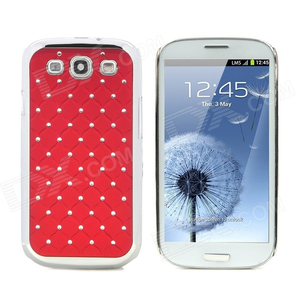 CrystalCoating Protective Back Case for Samsung Galaxy S3 / I9300 - Dark Red + Silver cm001 3d skeleton pattern protective plastic back case for samsung galaxy s4