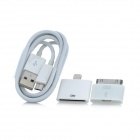 3-In-1 Apple 30 Pin Adapter + 8 Pin Lightning adapter + Micro USB Charging & Data Cable Set - White