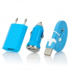 EU Charger Adapter + Car Charger w/ Lightning 8-Pin Male to USB Data Sync / Charging Cable - Blue