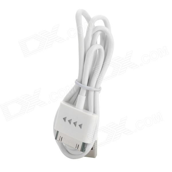 USB Data / Charging Cable w/ Indicator Light for iPhone 4 / iPhone 4S / iPad - White (80CM)