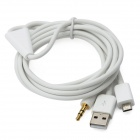 3.5mm Car AUX Audio + USB 2.0 Charging Cable for Samsung i9100 / i9220 / i9300 - White