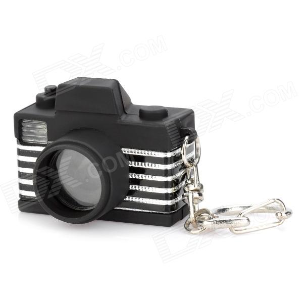 Mini Camera Style White Flash Light LED Keychain w/ Sound Effect - Black + Silver (3 x AG13) slr telephoto lens led white light keychain w sound effect yellow black orange 3 x ag13