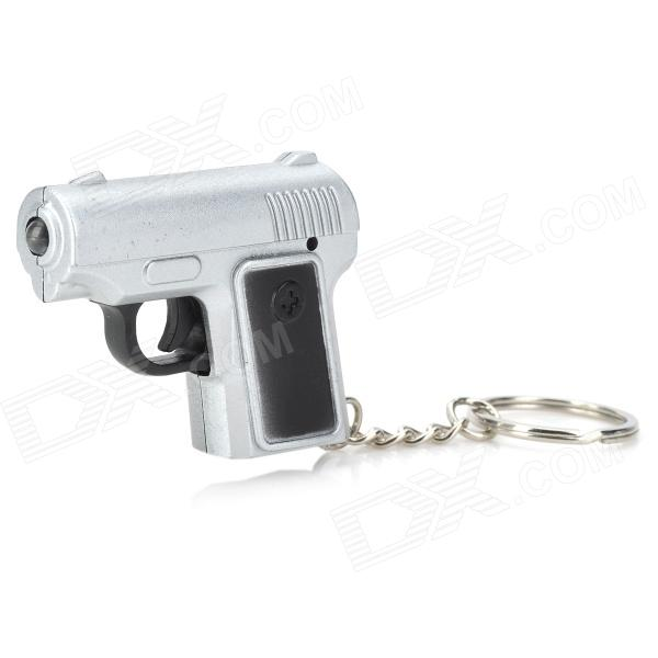 Mini Pistol Style White Light LED Keychain w/ Sound Effect - Silver + Black (3 x AG13) slr telephoto lens led white light keychain w sound effect yellow black orange 3 x ag13