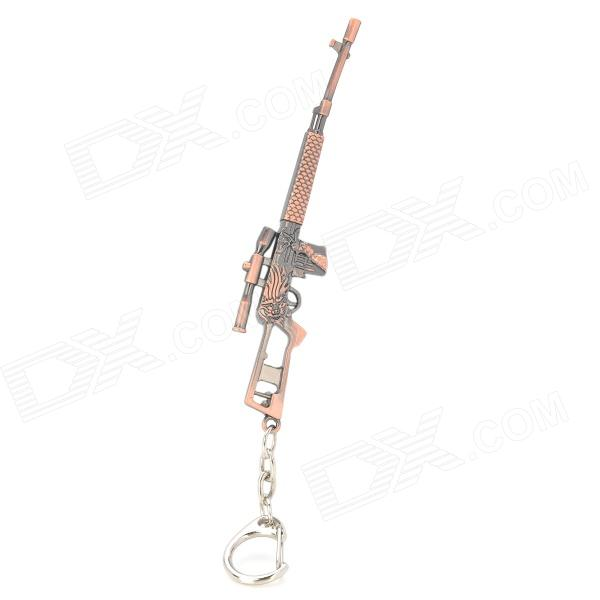 Unique Zinc Alloy Dragon Pattern Gun Keychain - Red Copper