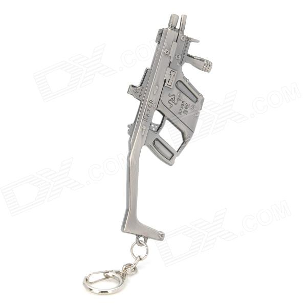 Cool Style Zinc Alloy Gun Keychain - Silver Black cool army star designed cow leather zinc alloy keychain brown silver