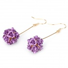 Rose Style Elegant Alloy Pendant Earrings - Purple