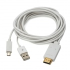 Micro USB 11 Pin Male to HDMI Male HDTV MHL Adapter Cable w/ USB Charging Cable - White (200cm)