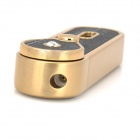 Windproof Stainless Steel Butane Jet Torch Lighter w/ LED Indicator - Black + Golden
