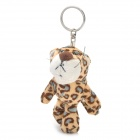 Short Floss Striped Tiger Toy Keychain - Brown + White + Blue