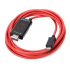 Micro USB 11 Pin to HDMI HDTV MHL Adapter Cable for Samsung Galaxy SIII i9300 - Black + Red (200cm)