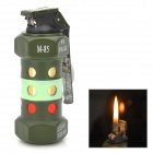 Grenade Shaped Yellow Flame Butane Lighter Keychain - Army Green