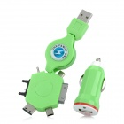 NUA-6 2-in-1 Car Charger w/ Retractable USB Cable + 6 Adapters for iPhone 4 / 4S + More - Green