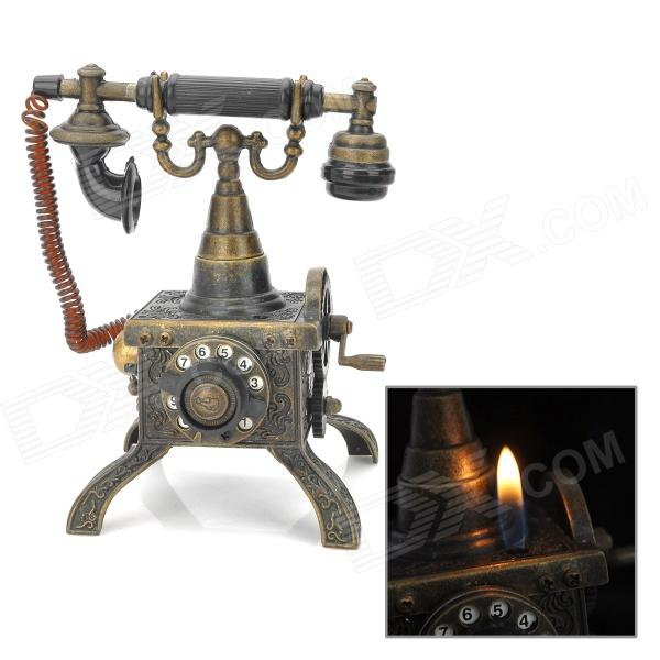 Retro Telephone Style Stainless Steel Butane Lighter - Antique Brass (1 x LR44)