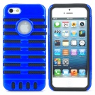Protective Silicone + PC Case for iPhone 5 - Black + Blue