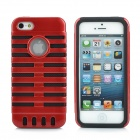 Protective 2-in-1 Silicone + PC Back Case for iPhone 5 - Black + Red