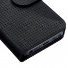 Straw Mat Pattern Protective Flip-open PU Case w/ Holder + 2 Card Slots for Iphone 5 - Black