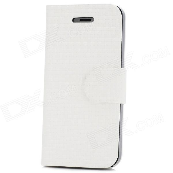 Straw Mat Pattern Protective Flip-open PU Case w/ Holder + 2 Card Slots for Iphone 5 - Black + White