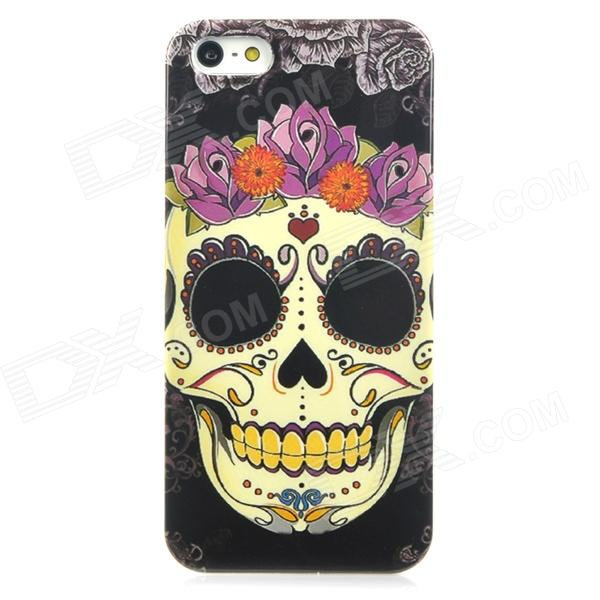 Flower Skull Style Protective PC Back Case for Iphone 5 - Black + Yellow + Purple protective pc tpu back case for iphone 5 w anti dust cover black yellow