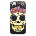 Flower Skull Style Protective PC Back Case for Iphone 5 - Black + Yellow + Purple