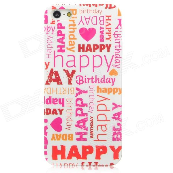 MYTH IDEAS Happy Birthday Style Protective PC Back Case for Iphone 5 - Deep Pink + Red + White cartoon pattern matte protective abs back case for iphone 4 4s deep pink