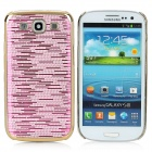 Stylish Electrofacing Protective Plastic Hard Back Case for Samsung Galaxy S3 i9300 - Golden + Pink