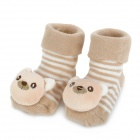 Cute Bear Shaped Cotton Non-Slip Baby Socks - Light Brown (Pair)