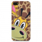 Airwalks Giraffe Pattern Protective PC Back Case for Iphone 5 - Deep Pink + Green + Yellow + Coffee