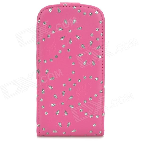 A3502 Maple Leaf Pattern Protective Flip-Open PU Leather Case for Samsung i8190 - Deep Pink