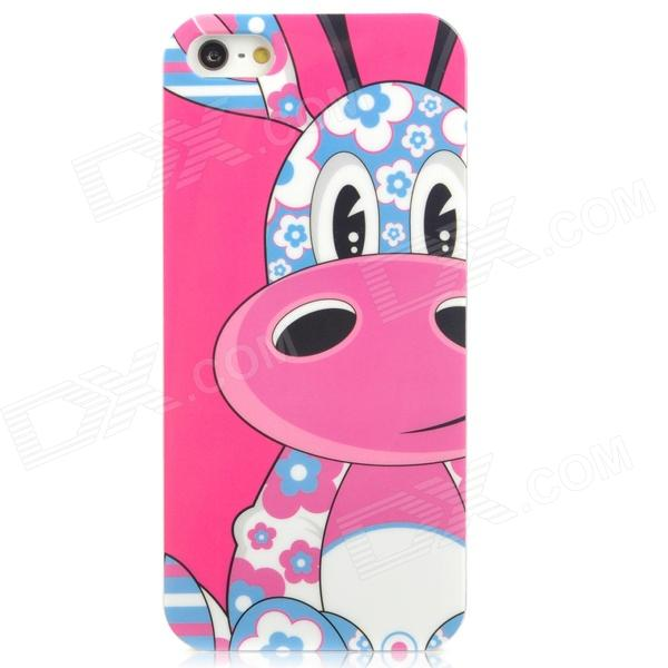 Airwalks Cartoon Giraffe Style Protective PC Back Case for Iphone 5 - Deep Pink + Blue + White cute girl pattern protective rhinestone decoration back case for iphone 5 light pink light blue