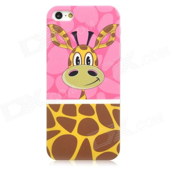 Airwalks Cartoon Giraffe Style Protective PC Back Case for Iphone 5 - Brown + Yellow + Pink cartoon pattern matte protective abs back case for iphone 4 4s deep pink