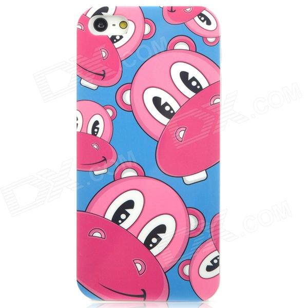 Airwalks Cartoon Hippo Style Protective PC Back Case for Iphone 5 - Pink + Blue + White cute girl pattern protective rhinestone decoration back case for iphone 5 light pink light blue