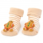 0722 Cute Gingerbread Man Doll Cotton Non-Slip Baby Socks - Beige (Pair)