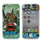 Crazy Music Protective Front + Back Guard Film Sticker for Iphone 4 / 4S