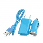 3-In-1 EU Plug Power Adapter + Car Charger + USB to 8 Pin Lightning Charging & Data Cable - Blue