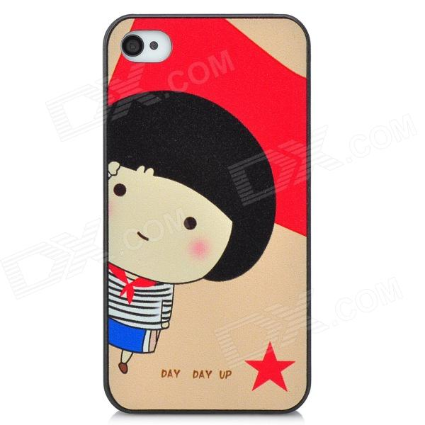Cartoon Girl Pattern Protective PC Back Case for Iphone 4 / 4S - Red + Black girl playing guitar pattern protective back case for iphone 5 white black red
