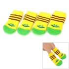 C1302 Non-slip Cotton Socks for Pets - Yellow (Size S / 4 PCS)