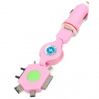 2-in-1 Car Cigarette Lighter Charger + Stretching Cable for iPhone 4 / 4S / Nokia / Samsung - Pink