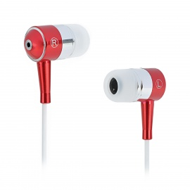 SE08 3.5mm Plug Aluminum Alloy Stereo In-Ear Earphone - Red + Silver + White (125cm-Cable)