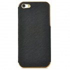 Protective PC Electroplating + PU Skin Back Case for Iphone 5 - Black + Golden