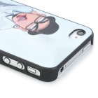 Big Ears Embossed Pattern Protective PC Back Case for Iphone 4 / 4S - Black + White