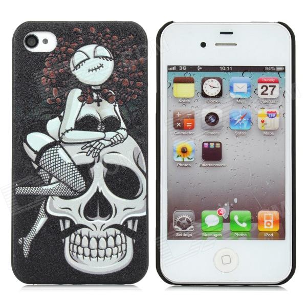 Protective Lady Skull Pattern PC Case for Iphone 4 / 4S - Black + White detectable 8x telescope w tripod back case for iphone 4 4s white silver black