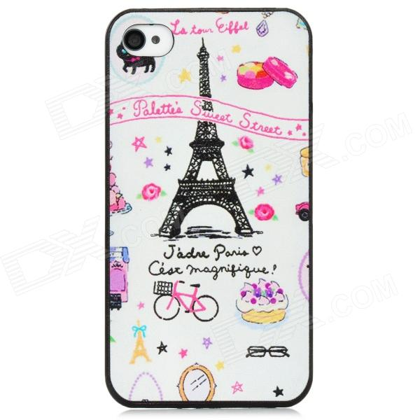 Cute Eiffel Pattern PC Back Case for Iphone 4 / 4S - White + Pink + Black detectable 8x telescope w tripod back case for iphone 4 4s white silver black