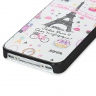 Cute Padrão Eiffel PC Back Case para iPhone 4 / 4S - Branco + Rosa + Preto