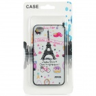 Cute Eiffel Pattern PC Back Case for Iphone 4 / 4S - White + Pink + Black