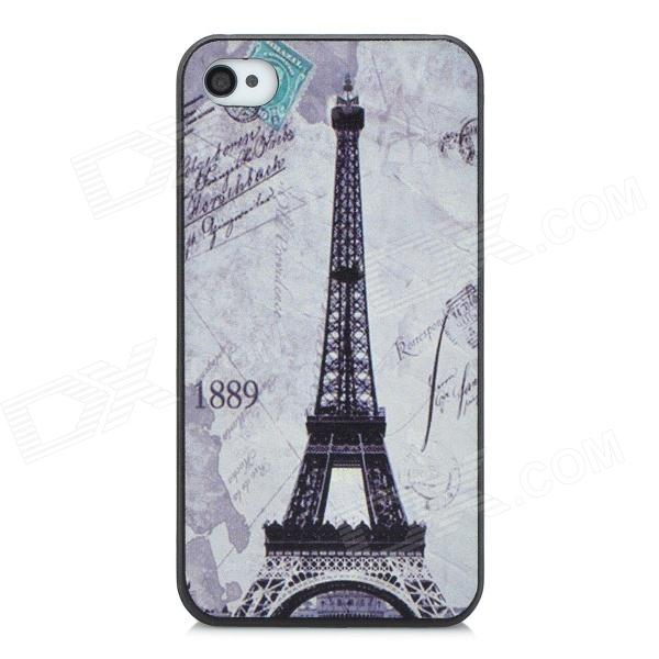 1889 Eiffel Tower Embossed Pattern Protective PC Hard Back Case for Iphone 4 / 4S - Light Grey cartoon pattern matte protective abs back case for iphone 4 4s deep pink
