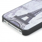 1889 Eiffel Tower Embossed Pattern Protective PC Hard Back Case for Iphone 4 / 4S - Light Grey