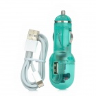 2-in-1 Car Cigarette Lighter Charger + USB 8Pin Lightning for iPhone 5 / iPad 4 - Translucent Green