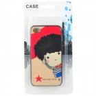 Five-Pointed Star Boy Embossed Pattern Protective PC Back Case for Iphone 4 / 4S - Red + Black