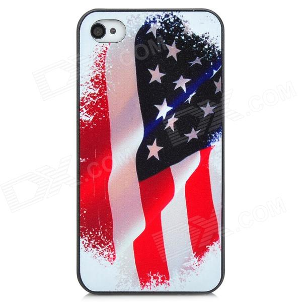 US National Flag Pattern Protective PC Hard Back Case for Iphone 4 / 4S - Red + White + Black retro the uk national flag pattern protective plastic back case for iphone 4 4s red white